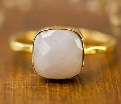 white-agate-cushion-ring-white-stone-ring-stacking-ring-gold-ring-cushion-cut-ring-bridal-ring-mothers-ring