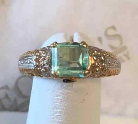 vintage-14k-tt-rectangular-green-beryl-green-sapphire-diamond-filigree-ring