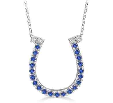 14k Gold Sapphire and Diamond Horseshoe Pendant Necklace