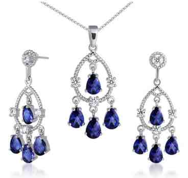 Celebrity Inspired Pear Checkerboard Shape Created Blue Sapphire Pendant Earrings Set in Sterling Silver Rhodium Nickel Finish