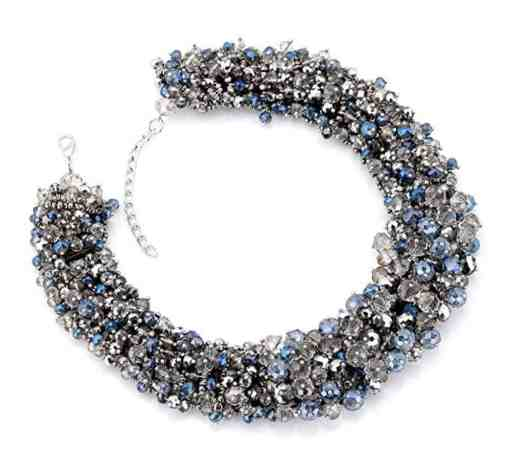 Full Crystal Multi-layer Womens Necklace Statament Gray Color