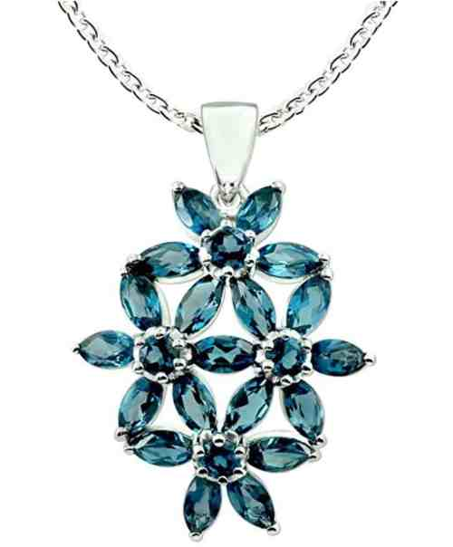 London Blue Topaz Rhodium-plated Sterling Silver Statement Pendant Necklace Floral Design