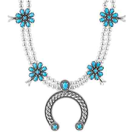 Sterling Silver Sleeping Beauty Turquoise Naja Statement Necklace