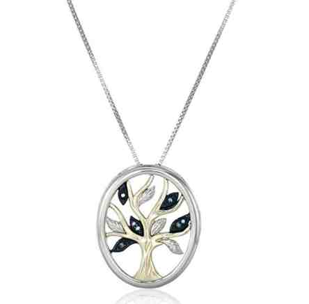 Sterling Silver and 14k Yellow Gold Diamond Accent Family Tree Pendant Necklace