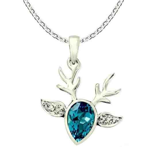 Swiss Blue Topaz Rhodium-plated Sterling Silver Statement Pendant Necklace Reindeer Design