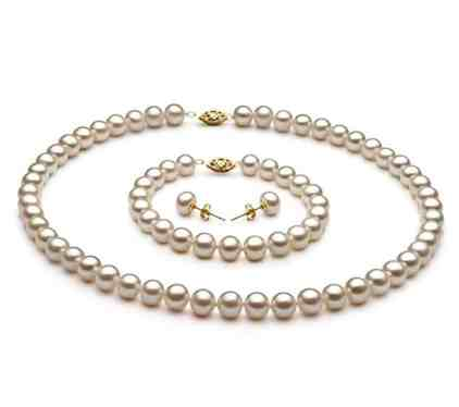 White 7.5-8.5mm AA Quality Freshwater Cultured Pearl Set