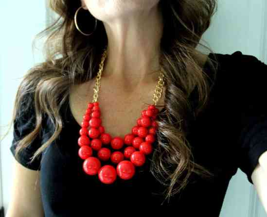 beaded red statement necklace