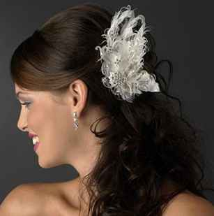 Asha Fabulous Ivory Hair Clip with Rhinestones Wedding Bridal Feather Fascinator