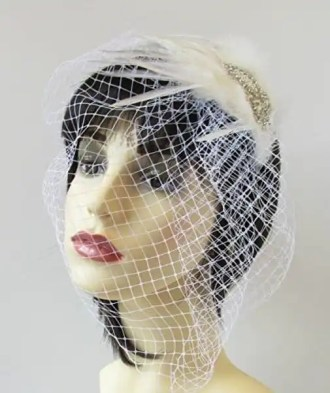 Ivory White Silver Birdcage Veil Headband Fascinator Bridal Pearl Vintage
