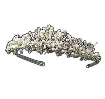 Margie Silver Freshwater Pearl & Rhinestone Wedding Bridal Tiara Headband