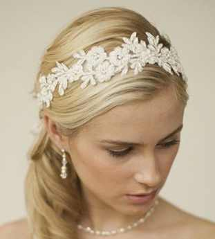Mariell Handmade Designer Bridal Headband - Ivory Beaded Lace Applique Headpiece