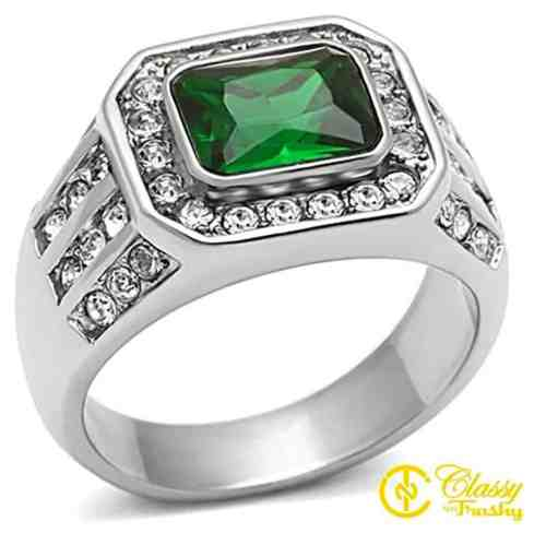 Men's Fashion Jewelry Ring, Premium Grade High Quality Stainless Steel Green Synthetic Stone
