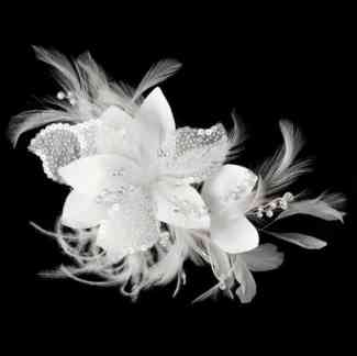 Tahlia Sequins & Bugle Beads Comb:Clip Ivory Wedding Bridal Feather Fascinator
