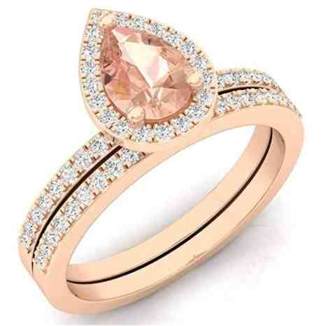 10K Rose Gold Pear Cut Morganite & Round Cut White Diamond Ladies Bridal Halo Engagement Ring Set