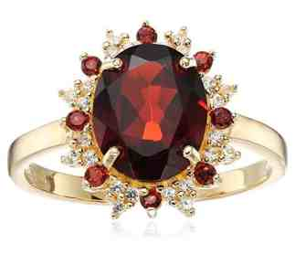 18k Yellow Gold Over Sterling Silver and Created White Sapphire Lady Di Ring, Size 7