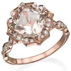 2.25 CTW natural peach:pink VS Morganite Ring with Diamonds 14k Rose Gold Flower Leaves Vintage