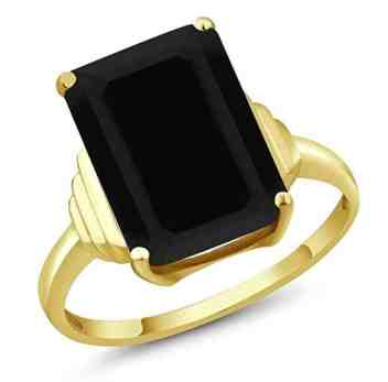 5.00 Ct Octagon Black Onyx 18K Yellow Gold Ring