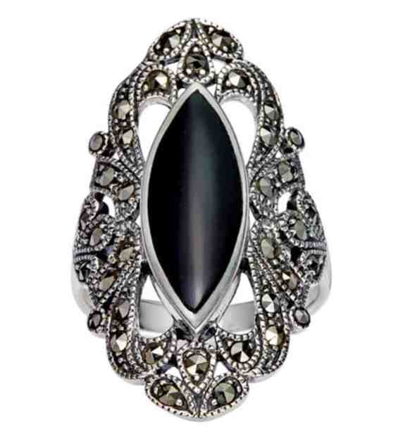 925 Sterling Silver Filigree with Marcasite and Black Onyx Gemstones Ring review