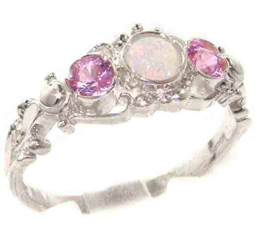 925 Sterling Silver Natural Opal and Pink Tourmaline Womens Trilogy Ring