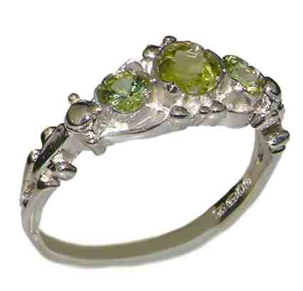 925 Sterling Silver Natural Peridot Womens Trilogy Ring