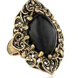 Barse Guinevere Ornate Onyx Ring