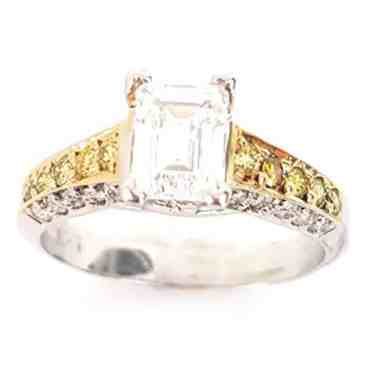 Emerald Cut Semi-Mount Yellow & White Diamond 18k Engagement Wedding Ring Two-Tone