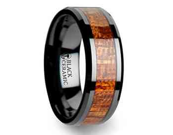 GABON Black Ceramic Band with Polished Bevels and Exotic Mahogany Hard Wood Inlay - 6 mm & 8 mm
