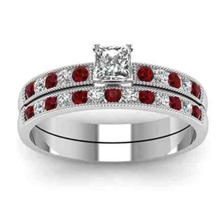 TVS JEWELS Red Garnet & white Princess CZ Comely Wedding Bridal Ring Set 925 Sterling Silver White Platinum Plated