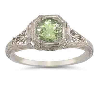 Vintage Filigree Peridot Ring in .925 Sterling Silver