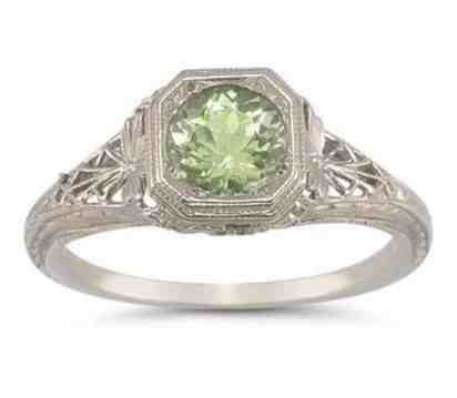 Vintage Filigree Peridot Ring in .925 Sterling Silver