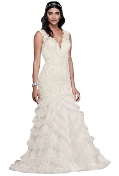 Beaded Lace Wedding Dress with Plunging Neckline Style