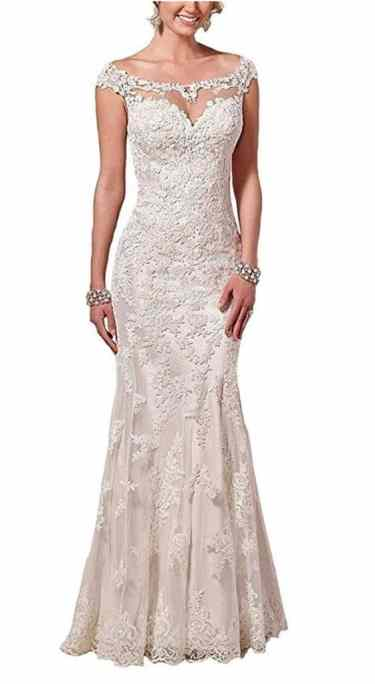 Firose Satin Sheath Illusion Neckline Wedding Dresses Lace Mermaid review