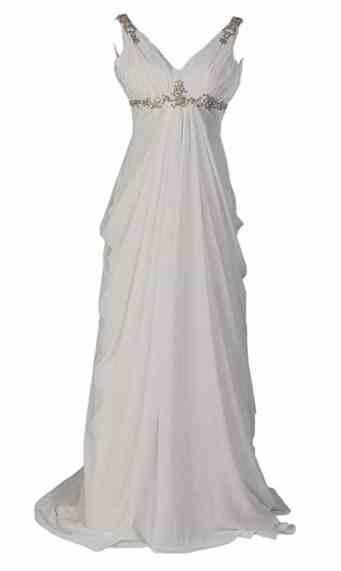 Remedios Sleeveless V Neck Chiffon Empire Wedding Dress with Rhinestone
