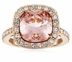 Rose Gold Plated Sterling Silver Swarovski Elements Crystal Morganite Cushion-Cut Halo