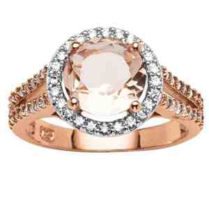 Round Peach Simulated Morganite and CZ Rose Gold-Plated Sterling Silver Halo Ring