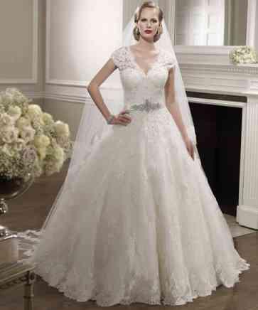 Short-Sleeve-Beaded-Lace-font-b-Wedding-b-font-Dresses-Ball-font-b-Gown-b-font