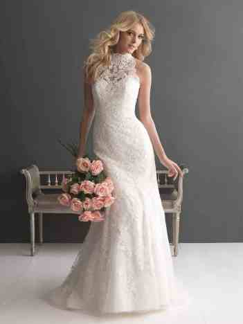 high neckline wedding dress