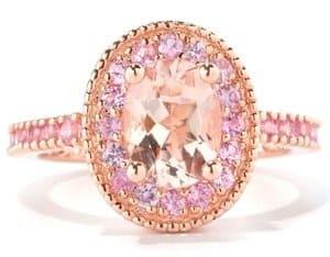 rose gold pink gemstone ring for women