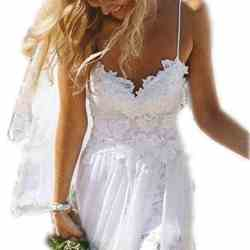 Charmingbridal Spaghetti Backless White Lace Beach Wedding Dresses