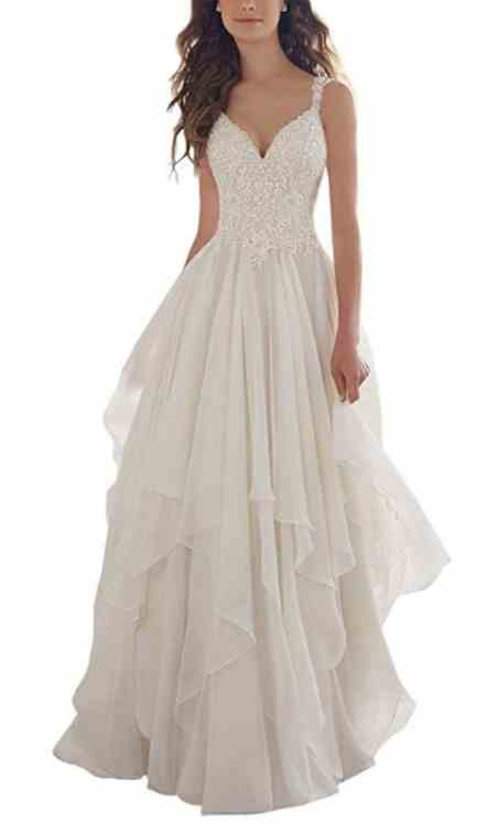 Holygift Women's A-Line V-Neck Strap Tulle Appliques Princess Spring Chiffon Beach Wedding Dress