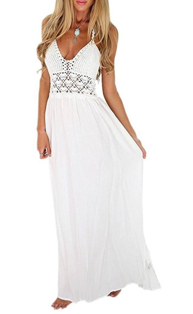 LILBETTER Women s Beach Crochet Backless Bohemian Halter Maxi Long Dress b99436e119