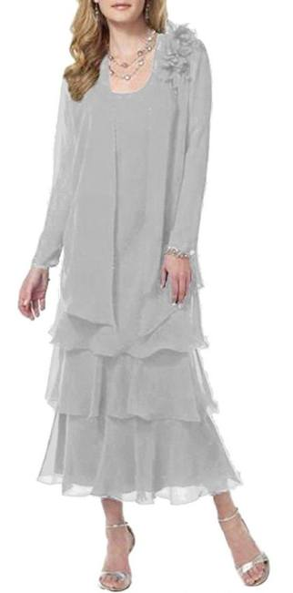 ModeC Womens Tea Length Chiffon Tiered Mother of the Bride Dress With Jacket