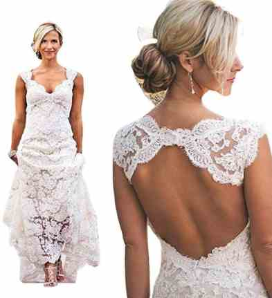 Queenbridal Vintage 2016 Lace Beach Wedding Dresses Keyhole Back Custom Bridal Gown