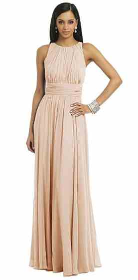 Ssyiz Women's Elegant Pleated Chiffon Floor Length Evening Party Dress