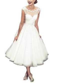 Women's Elegant Sheer Vintage Short Lace Wedding Dress For Bride