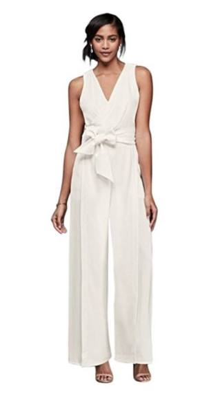 david's bridal Chiffon Wedding Dress Surplice Bodice Crepe Jumpsuit with Wide Sash Style