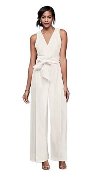 david's bridal Chiffon Wedding Dress Surplice Bodice Crepe Jumpsuit with Wide Sash Style