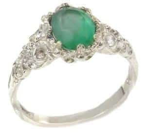 Sterling Silver Natural Emerald Solitaire Ring