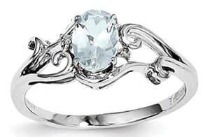 sterling silver rhodium plated aquamarine ring