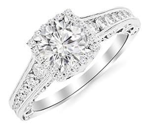brilliant round cut diamond halo vintage